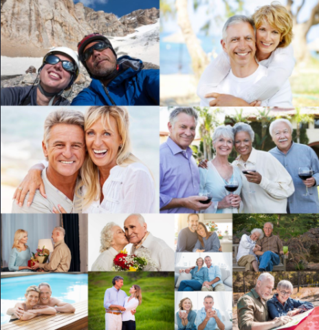 Many couples celebrating life and marriage together in a collage